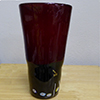 Murano Glass Vase Red and Black with Millefiori Mouth Blown Vaso Incaminciato