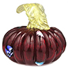 Mouthblown Rich Red Glass Pumpkin with Murrine, Authentic Murano Glass