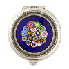 Antiques Sterling Silver Pillbox Filigree with Blue Millefiori 1 1/4 Inch