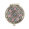 Antiques Sterling Silver Pillbox Filigree with Pink Millefiori 1 Inch
