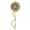 Red and Green Millefiori Stickpen 29mm Gold Plated Sterling Silver