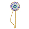 Pink and Blue Millefiori Stickpen 29mm Gold Plated Sterling Silver