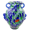 Murano Glass Vase Green and Blue with Handles