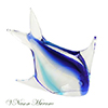 Aqua and Clear Turbot Murano Glass Sculpture