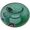 Verde Marino, Aqua Murano Glass Votive with Millefiori