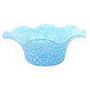 Aqua Millefiori Murano Glass Mouth Blown Scalloped Bowl