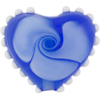 Blue Nicola's Single Flower Heart 30mm Lampwork Murano Glass Bead