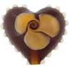 Topaz Nicola's Single Flower Heart 30mm Lampwork Murano Glass Bead