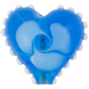 Aqua Nicola's Single Flower Heart 30mm Lampwork Murano Glass Bead
