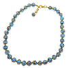 Celeste Aventurina  Necklace 16 Inches w/1 1/4 Inch Extender, Gold Tone Clasp Authentic Murano Glass Beaded