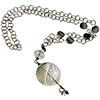 Gray Mouth Blown Sculpted Pendant and Black Chain Necklace 30 Inch
