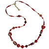 Red and Gold Murano Glass Necklace 28 Inches One of a Kind