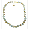 Trasparent Pale Aqua and Aventurina Murano Glass Necklace 16 Inches w/ 2 Inch Extender, with Gold Tone Clasp