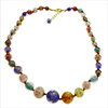 Multi Colored Authentic Murano Glass Beaded Necklace 18 Inches with 1 1/4 Inch Extender, Gold Tone Clasp, Black Cord and Bead Dangle