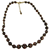 Black and Aventurina Authentic Murano Glass Beaded Necklace 18 Inches with 1 1/4 Inch Extender, Gold Tone Clasp and Murano Tag