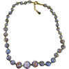Blue with Aventurina Authentic Murano Glass Beaded Necklace 18 Inches, 1 1/4 Inch Extender, Gold Tone Clasp and Murano Tag