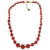 Red with Aventurina Authentic Murano Glass Beaded Graduated Necklace 18 Inches, 1 1/4 Inch Extender, Gold Tone Clasp and Murano Tag