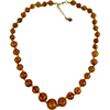 Light Topaz with Aventurina Authentic Murano Glass Beaded Necklace 18 Inches, 1 1/4 Inch Extender, Gold Tone Clasp and Murano Tag