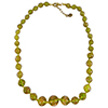 Transparent Green with Aventurina Authentic Murano Glass Beaded Necklace 18 Inches, 1 1/4 Inch Extender, Gold Tone Clasp and Murano Tag