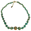 Transparent Verde Marino with Aventurina Authentic Murano Glass Beaded Necklace 18 Inches, 1 1/4 Inch Extender, Gold Tone Clasp and Murano Tag
