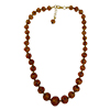 Light Topaz Nuvola Graduated Authentic Murano Glass Beaded Necklace 18 Inches, 1 1/4 Inch Extender, Gold Tone Clasp