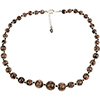 Black and Aventurina Authentic Murano Glass Beaded Necklace 18 Inches with 1 1/4 Inch Extender, Silver Tone Clasp and Murano Tag