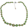 Opaque Green with Aventurina Graduated Authentic Murano Glass Graduated Beaded Necklace 18 Inches, 1 1/4 Inch Extender, Silver Tone Clasp and Murano Tag