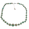 Verde Petrolio with Aventurina Graduated Authentic Murano Glass Graduated Beaded Necklace 18 Inches, 1 1/4 Inch Extender, Silver Tone Clasp and Murano Tag