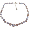 Blue with Aventurina Graduated Authentic Murano Glass Beaded Necklace 18 Inches, 1 1/4 Inch Extender, Silver Tone Clasp and Murano Tag