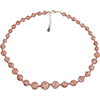Pink with Aventurina Authentic Murano Glass Beaded Necklace 18 Inches, 1 1/4 Inch Extender, Silver Tone Clasp and Murano Tag