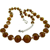 Light Topaz with Aventurina Authentic Murano Glass Beaded Necklace 18 Inches, 1 1/4 Inch Extender, Silver Tone Clasp and Murano Tag