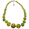 Transparent Green with Aventurina Graduated Authentic Murano Glass Beaded Necklace 18 Inches, 1 1/4 Inch Extender, Silver Tone Clasp and Murano Tag