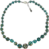 Transparent Verde Marino with Aventurina Graduated Authentic Murano Glass Graduated  Beaded Necklace 18 Inches, 1 1/4 Inch Extender, Silver Tone Clasp and Murano Tag