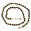 Black and Aventurina Authentic Murano Glass Beaded Necklace 26 Inches with 1 1/4 Inch Extender, Gold Tone Clasp and Murano Tag