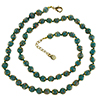 Verde Petrolio with Aventurina Authentic Murano Glass Beaded Necklace 26 Inches, 1 1/4 Inch Extender, Gold Tone Clasp and Murano Tag