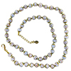 Blue with Aventurina Authentic Murano Glass Beaded Necklace 26 Inches, 1 1/4 Inch Extender, Gold Tone Clasp and Murano Tag