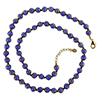 Cobalt Blue with Aventurina Authentic Murano Glass Beaded Necklace 26 Inches, 1 1/4 Inch Extender, Gold Tone Clasp and Murano Tag