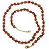 Red with Aventurina Authentic Murano Glass Beaded Necklace 26 Inches, 1 1/4 Inch Extender, Gold Tone Clasp and Murano Tag