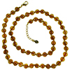 Light Topaz with Aventurina Authentic Murano Glass Beaded Necklace 26 Inches, 1 1/4 Inch Extender, Gold Tone Clasp and Murano Tag