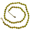 Transparent Green with Aventurina Authentic Murano Glass Beaded Necklace 26 Inches, 1 1/4 Inch Extender, Gold Tone Clasp and Murano Tag