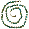 Transparent Verde Marino with Aventurina Authentic Murano Glass Beaded Necklace 26 Inches, 1 1/4 Inch Extender, Gold Tone Clasp and Murano Tag