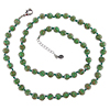 Opaque Green with Aventurina Authentic Murano Glass Beaded Necklace 26 Inches, 1 1/4 Inch Extender,Silver Tone Clasp and Murano Tag