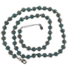 Verde Petrolio with Aventurina Authentic Murano Glass Beaded Necklace 26 Inches, 1 1/4 Inch Extender, Silver Tone Clasp and Murano Tag