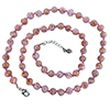 Pink with Aventurina Authentic Murano Glass Beaded Necklace 26 Inches, 1 1/4 Inch Extender, Silver Tone Clasp and Murano Tag