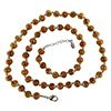 Light Topaz with Aventurina Authentic Murano Glass Beaded Necklace 26 Inches, 1 1/4 Inch Extender, Silver Tone Clasp and Murano Tag