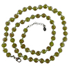 Transparent Green with Aventurina Authentic Murano Glass Beaded Necklace 26 Inches, 1 1/4 Inch Extender, Silver Tone Clasp and Murano Tag