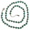 Transparent Verde Marino with Aventurina Authentic Murano Glass Beaded Necklace 26 Inches, 1 1/4 Inch Extender, Silver Tone Clasp and Murano Tag