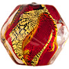 Murano Glass Bead Red, Topaz, Gold Foil Zig Zag Pebble 15mm