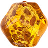 Topaz, Aventurina Gold Foil Murano Glass Pebble Bead 25mm