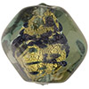 Olivine, Blue Aventurina Gold Foil Murano Glass Pebble 25mm